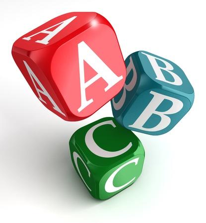 3d kids: A,B and C on red, blue and green box on white background Stock Photo