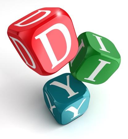 zelf doen: doe het zelf op rood, blauw en groen doos op witte achtergrond Stockfoto