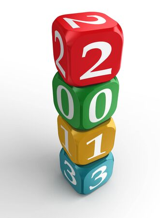 new year 2013 3d colorful dice tower on white background photo