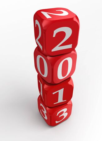 new year 2013 3d red and white dice tower on white background photo