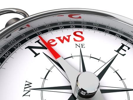 Haber kırmızı kelime pusula kavramsal bir görüntü ile gösterilir