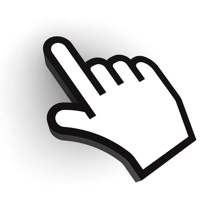 3d cursor: pc pointer hand black and white cursor on white background