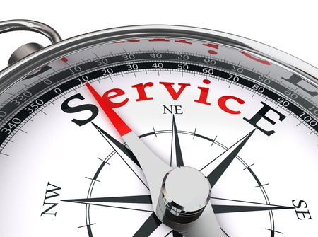 customer services: service red word indicated by compass conceptual image on white background