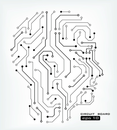 integrated: circuit abstract human head  background