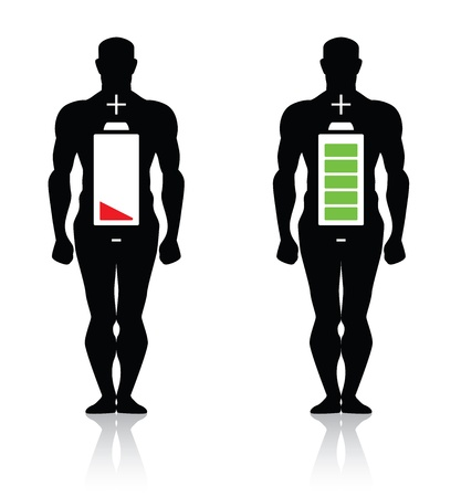 weak: human body high low battery isolated Illustration