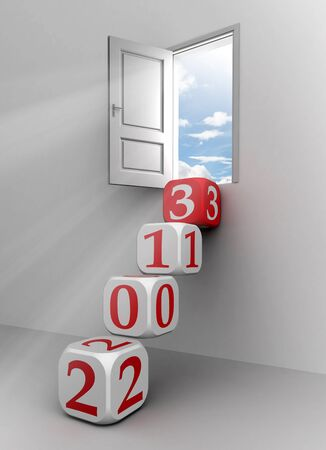 new year 2013 conceptual door with red and white dice steps photo