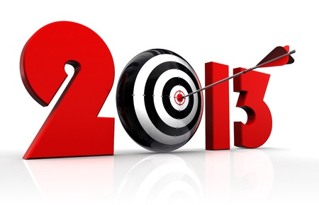2013 new year and conceptual target with arrow in white background. Stock Photo