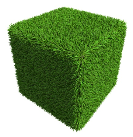 landscape garden: green grass cube isolated on white background.
