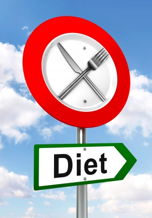diet red and green road sign with fork and knife on sky background.  photo