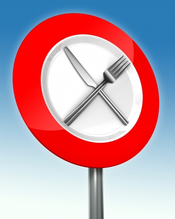 diet road sign red and white with metal fork and knife. photo