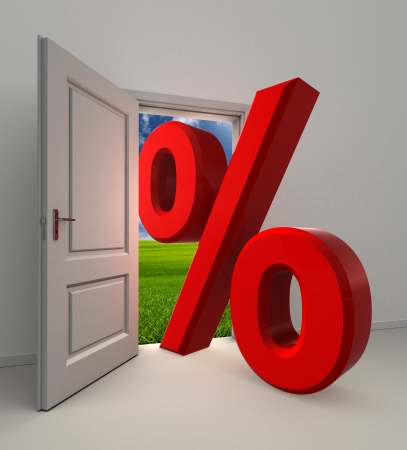 percentage  symbol and white open door with field and sky background photo