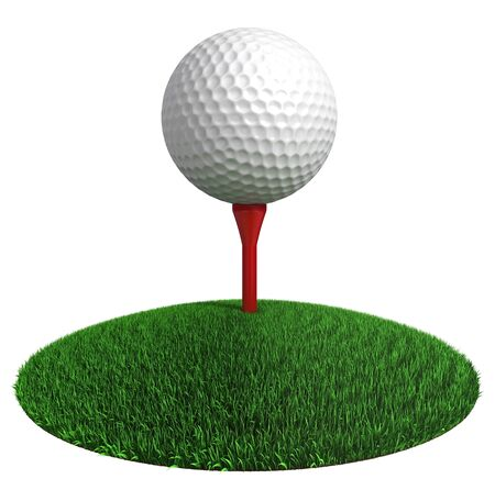 3d ball: golf ball and red tee on green grass disc on white background.