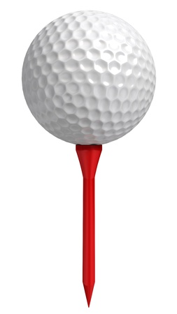 golf equipment: golf ball on red tee on white background.  Stock Photo