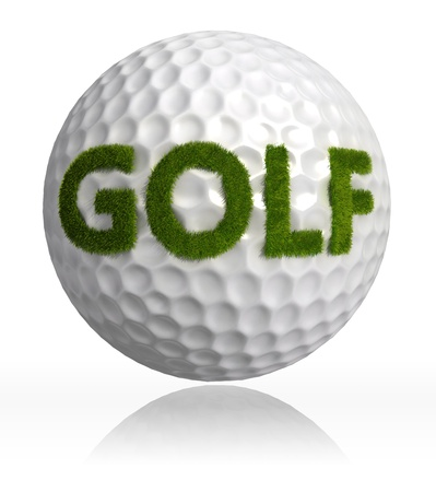 golf green: golf green grass word on ball on white background. Stock Photo