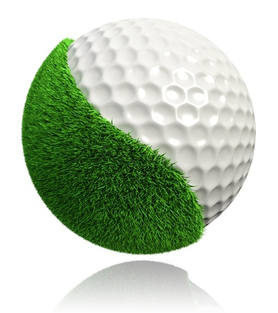 course: golf ball with green grass on white background.  Stock Photo