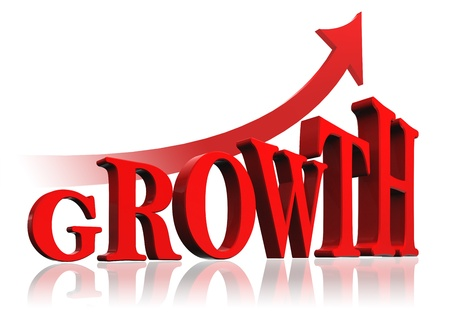 growth red word and arrow on white background.  Stock Photo - 16217408