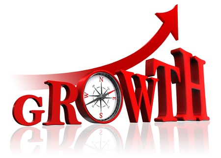achievement concept: growth red word with compass and arrow on white background.  Stock Photo