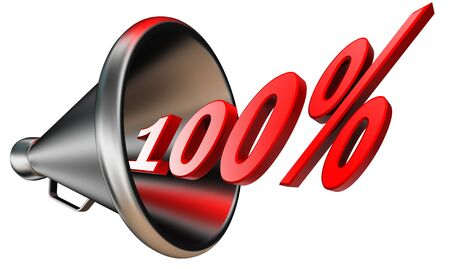 cent: hundred per cent 100% red symbol in bullhorn isolated on white background. Stock Photo