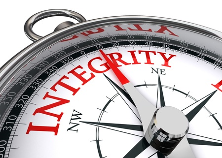 integridad palabra rojo indicado por la brújula imagen conceptual sobre fondo blanco