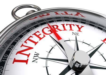 integridad: integridad palabra rojo indicado por la brújula imagen conceptual sobre fondo blanco Foto de archivo