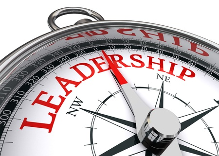 leader concept: leadership red word indicated by compass conceptual image on white background Stock Photo