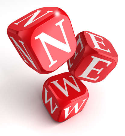 red dice: new word on red box dice on white background.