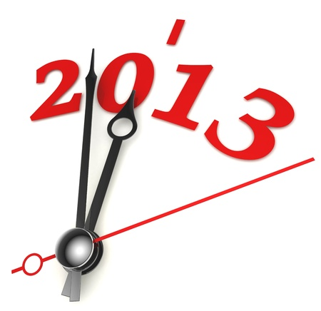 new year 2013 concept clock closeup on whte background photo