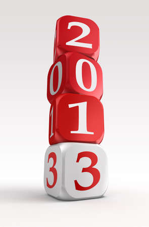 new year 2013 3d red and white box tower on white background. photo