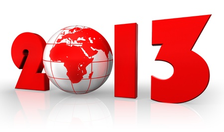 new year 2013 red number and globe on white background.  photo