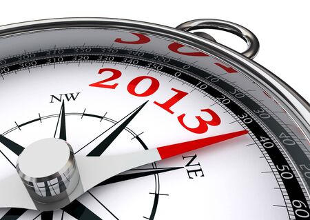 new year 2013 indicated by conceptual compass on white background Stock Photo - 16217559