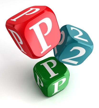 p2p word on red blue and green dice cube on white background photo