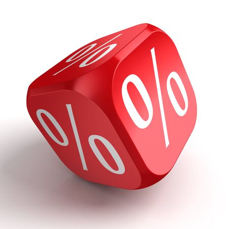 per cent conceptual red dice on white background. Stock Photo - 16217414