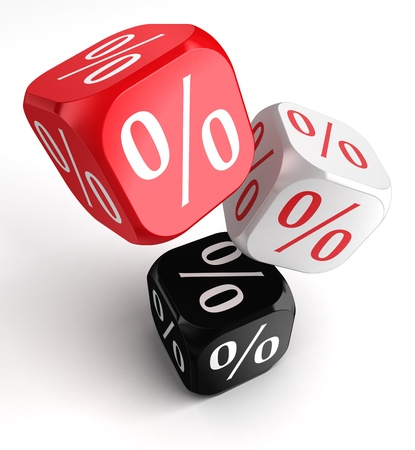 per cent symbol on dice cubes red white black. Stock Photo - 16217510