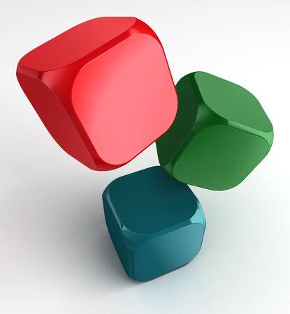 dados: rojo, verde, azul, blanco cube dados de pie por rgb en fondo blanco. Foto de archivo