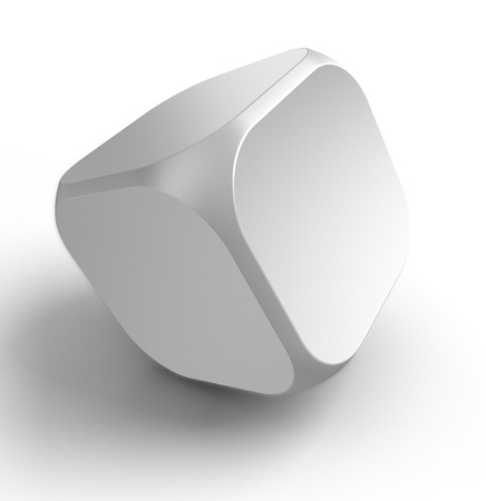 abstract cubes: white empty dice cube on white background.  Stock Photo