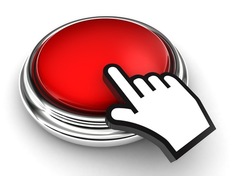 mouse click: empty red button and cursor hand on white background.