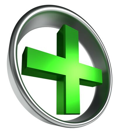 3d circle: green health cross in round metal frame on white background. Stock Photo