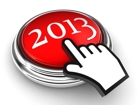 new year red button and cursor hand on white background. photo