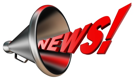 hot news: news red word and metal bullhorn on white background.  Stock Photo