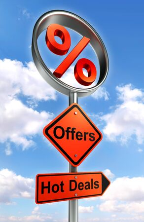 offers road sign with discount symbol and word hot deals on sky background photo