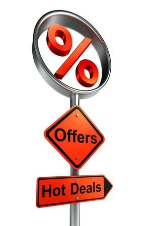 offers road sign with discount symbol and word hot deals on white background. photo