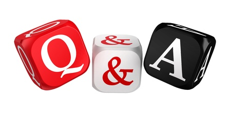 faq: questions and answers red white black dice isolated on white background