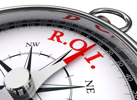 return: roi red word on concept compass symbol return on investment on white background