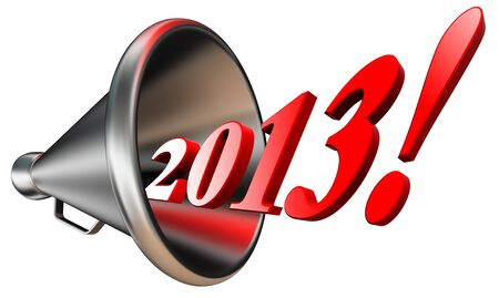 new year 2013 in megaphone isolated on white background. clipping path included photo