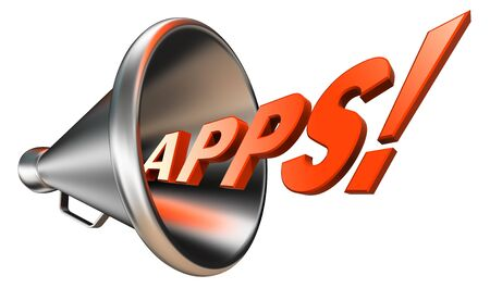 apps orange word in megaphone on white background. clipping path included  photo