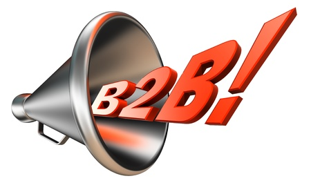 b2b orange word in megaphone on white background. clipping path included  photo