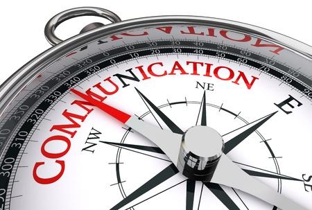 communicatie rood woord over conceptueel kompas dat op witte achtergrond wordt geïsoleerd Stockfoto