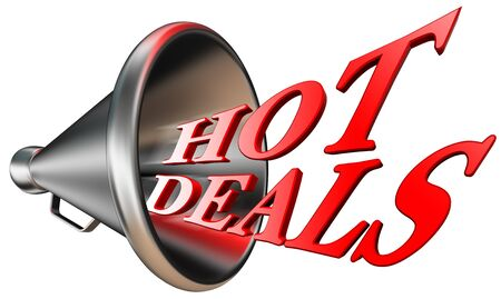 hot deals red word in megaphone isolated on white background. clipping path included Stock Photo - 16846470