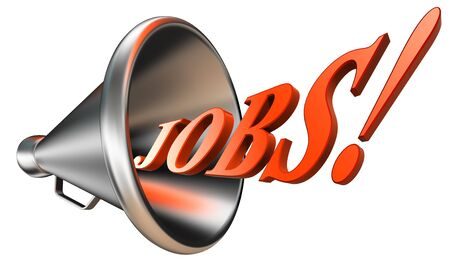 jobs orange word in megaphone on white background. clipping path included  photo