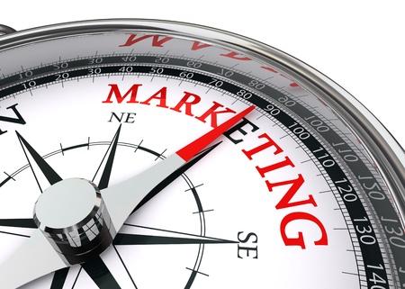 マーケティングの概念のコンパスに孤立した白い背景の上の単語